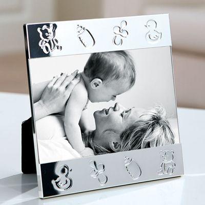 FINK Bilderrahmen TOY (Baby, Babys, Kinder, versilbert, silber, Wand, Aufsteller, Hochzeit, Geburtstag, Format 10x15 cm)