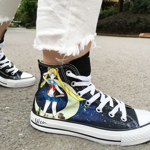 Sailor Moon Converse Hand Painted High Top Black Canvas