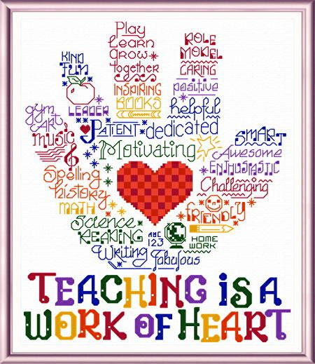 Lets Hug a Teacher - 'Words' cross stitch pattern designed by Ursula Michael.: