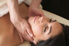 Women Getting Lymphatic Massage stock photo