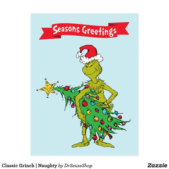 Classic Grinch | Naughty Postcard | Zazzle.com