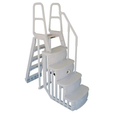 Main Access Smart Step And Ladder System Above Ground Swimming Pool 200100t The Home Depot Above Ground Swimming Pools Pool Steps Pool Ladder
