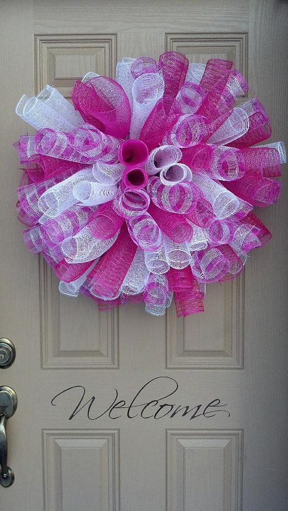 Large curly deco mesh wreath bright pink white front for Baby shower front door decoration ideas
