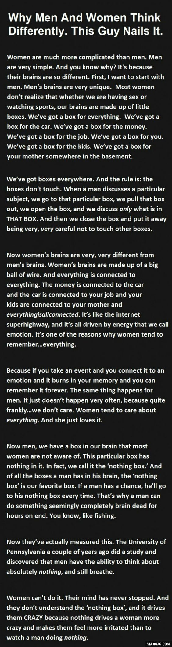 Quotes About Men And Women Why Men And Women Think Differentlythis Guy Nailed It  Box