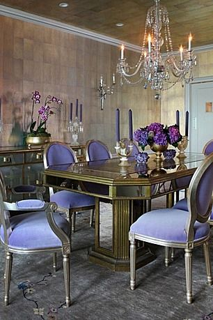 i like the color of these walls - different shade of purple and different table