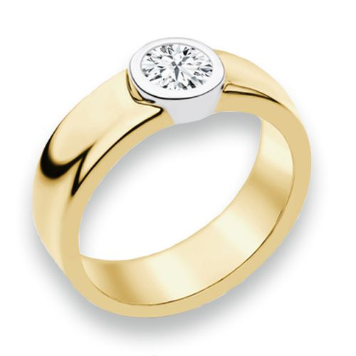 naledi aaliyah engagement ring a center diamond is bezel set in a yellow gold band wedding ring design ideas - Ring Design Ideas