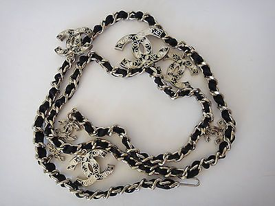 **KILLER HIP**CHANEL 06A WOVEN LEATHER LARGE CC LOGO SILVER BLACK NECKLACE