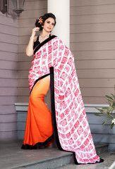 #Orange #pink and white #colour #sattin and #bamber #cotton  material #designer #saree #sari