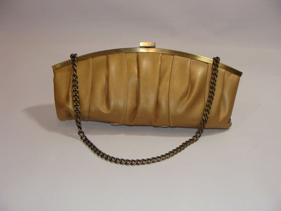 Gold Pleated Clutch bag by marthasvariety on Etsy, $14.00