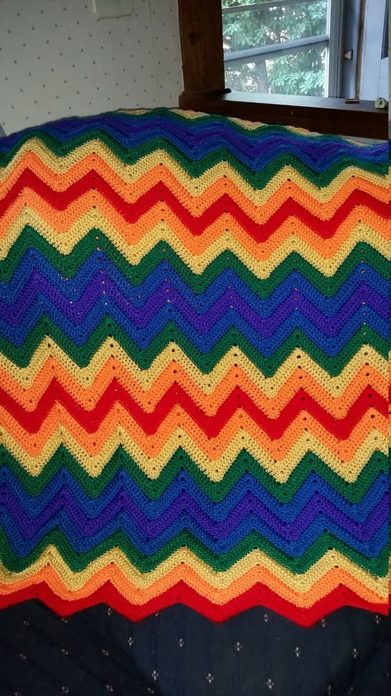 Rainbow Crocheted Ripple Afghan by afghansandmore1 on Etsy