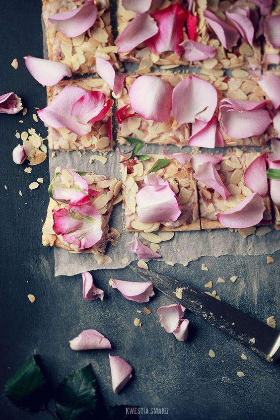Polish Easter Cake with Almonds & Rose Petals