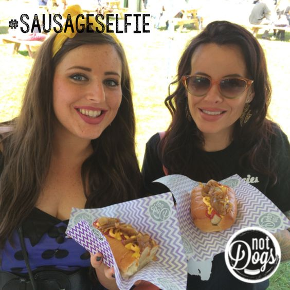 So happy to see the beautiful #AlysWilliams not only at #Wakestock but at #FN6 come to the #NotDogs truck for a #SausageSelfie!