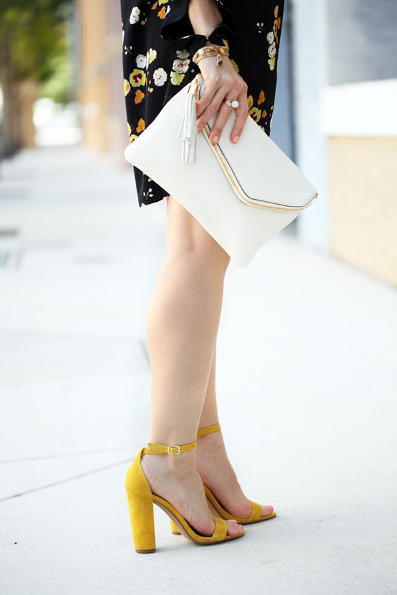 Blame it on Mei Miami Fashion Blogger 2016 Spring Outfit Look Floral Dress White Henri Bendel Debutante Tassel Clutch Baublebar Geranium Earrings Steve Madden Carrson Yellow Sandals Soft Waves on Short Hair: