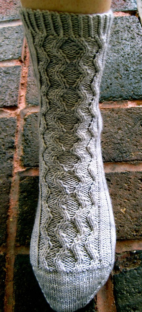 Double Knit Sock Pattern : Knitted Sock Pattern: Double Diamond Cable Socks Cable, Awesome and Knit socks