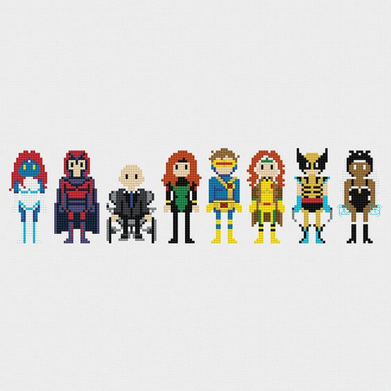 X-Men (Mystique, Magneto, Professor X, Jean Grey, Cyclops, Rogue, Wolverine, Storm) inspired cross stitch pattern PDF instant download includes: