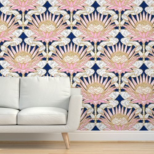 Blush King Protea Art Deco Midnight Protea Art Vintage Style Wallpaper Spoonflower Wallpaper