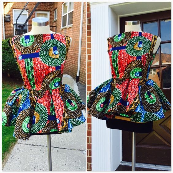 Ankara peplum top by Roshes on Etsy https://www.etsy.com/listing/231960282/ankara-peplum-top