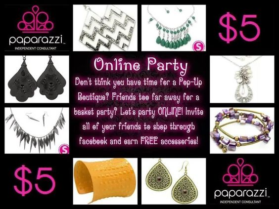An online party is a great alternative to an in home party AND it allows you to reach out and include/invite others no matter their location!  Contact me to find out how to host an online party and earn free items!!  Teresa Garza  Email: paparazzi.teresag@gmail.com www.paparazziaccessories.com/23011