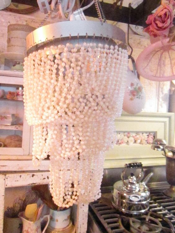 Shabby chic beaded pearls chandelier