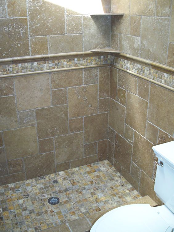 Travertine autumn leaves and mosaics on pinterest for Tumbled marble bathroom designs