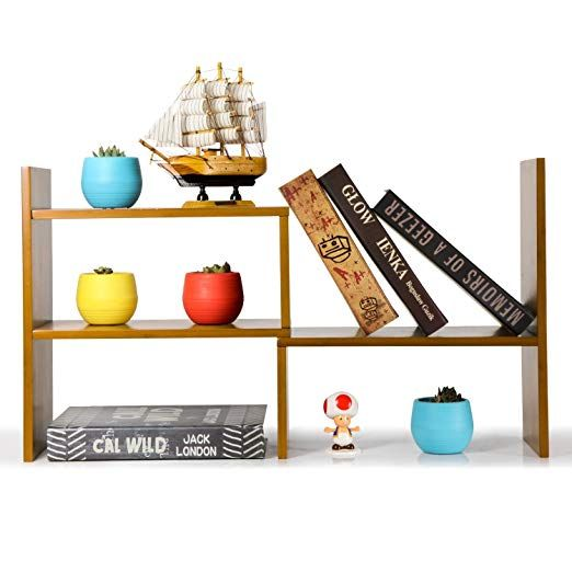 Niubee Adjustable Bamboo Desktop Bookshelf Countertop Bookcase Book Storage Organizer Display Shelf Rack Desktop Bookshelf Book Organization Display Shelves