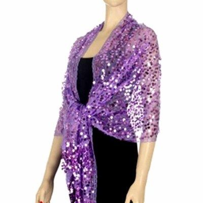 LAVENDER LONG GLAMOROUS SEQUIN SHOULDER SHAWL WRAP... wow!!! 26inx74in plus 4 in fringe