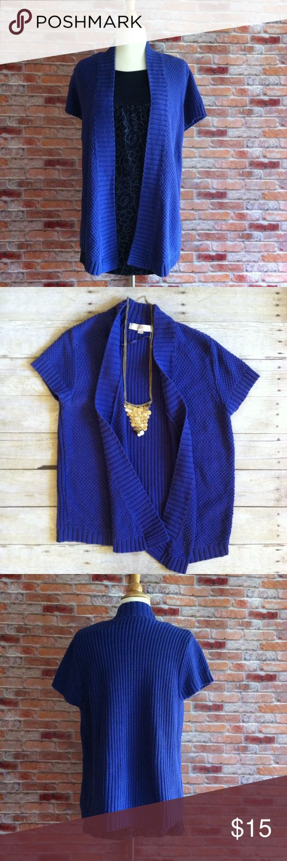 """LOFT open front royal blue cardigan Short sleeve open front cardigan from the Loft. Varied knit adds interest. Front corners hang slightly longer. In good preloved condition, show a bit of wear from wash but otherwise great shape. 100% cotton. 29""""L. Approx 19"""" bust laying flat size large. LOFT Sweaters Cardigans"""
