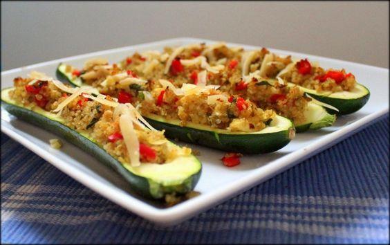 Veggie & Pesto Quinoa-Stuffed Zucchini