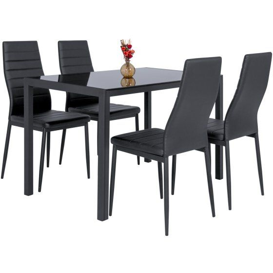 Zimtown 5 Pieces Modern Dining Table Set 4 Chair Glass Metal