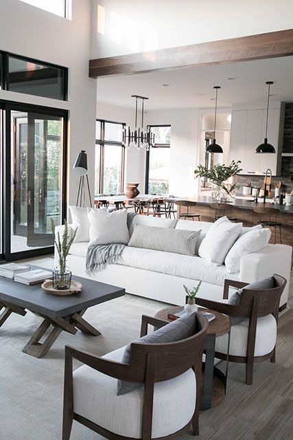 Open Plan Neutral Living Room Design Open Living Room Design Dining Room Design Modern