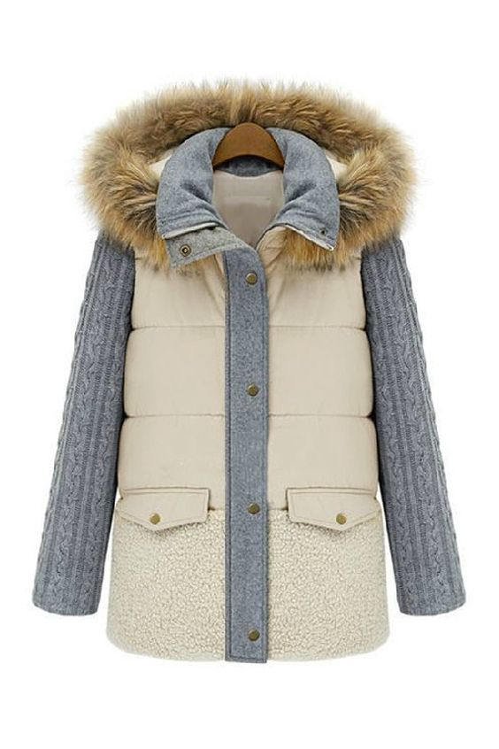 Goodnight Macaroon Genuine Fur Hooded Peach Puffer Cable Knit Sleeved Coat