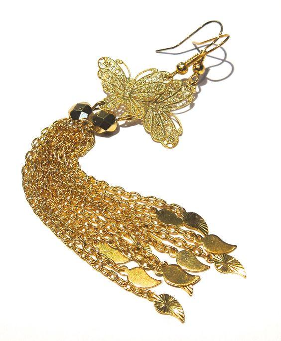 Longues boucles d'oreilles pendantes papillon avec chaînes dorées : Boucles d'oreille par lizou-sen-fout