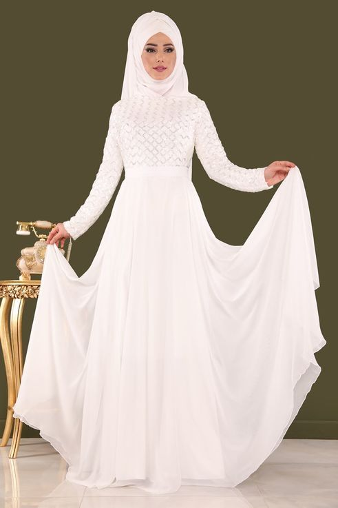 Modaselvim Abiye Pul Payetli Sifon Abiye 8127d170 Ekru Moda Stilleri The Dress Basortusu Modasi