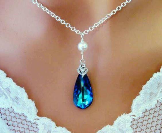 Bermuda Blue Necklace Pearl Cubic Zirconia Wedding Bridal - Wedding Jewelry | Bridesmaid Jewelry |