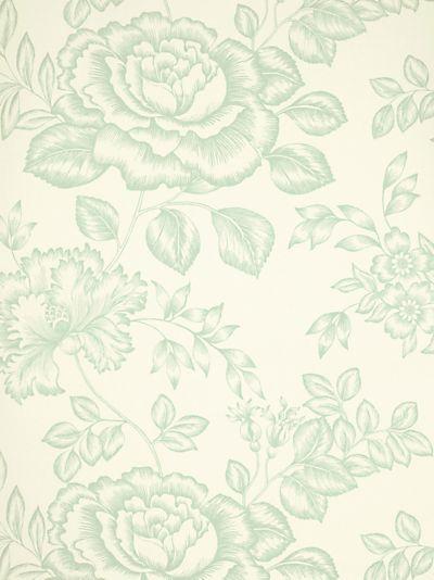 Eau de nil botanical rose wallpaper pattern for Eau de nil bedroom ideas
