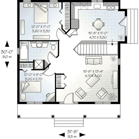 Cottage Style House Plan 2 Beds 1 Baths 910 Sq Ft Plan 23 512 Bedroom House Plans House Plans Budget House Plans