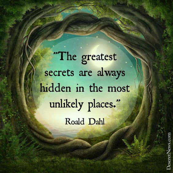 """""""The greatest secrets are always hidden in the most unlikely places.""""   """"The Minpins""""   20 inspiring and whimsical quotes from Roald Dahl #secrets #books"""
