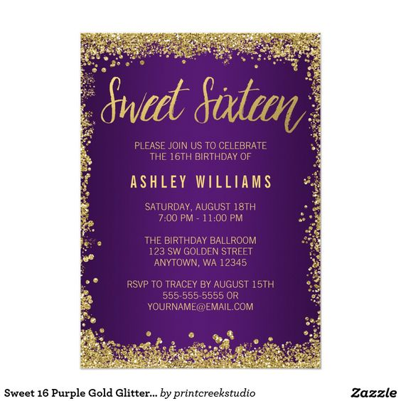 Sweet 16 Purple Gold Glitter Birthday 5x7 Paper Invitation Card