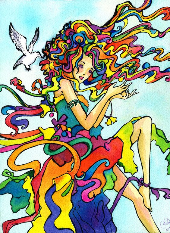 Lucy in the Sky with Diamonds Print (Rainbow colorful watercolor of vibrant hippy girl in the sky with doves)