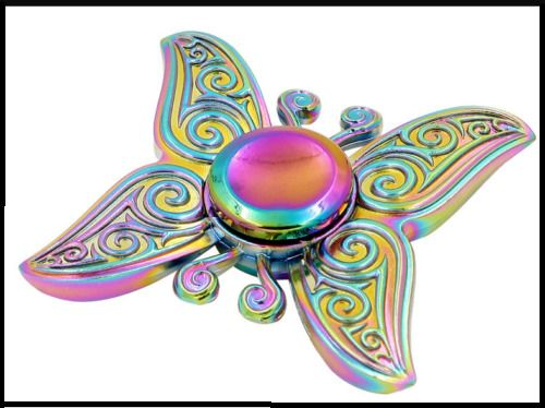 3D Rainbow Butterfly Figet Fidget Finger Tri-Spinner Hand Focus ADHD Anti Stress