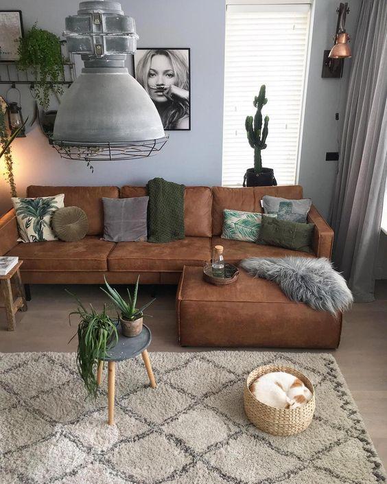 Mua sofa da thật ở đâu cho phòng khách Bắc Âu tươi sáng
