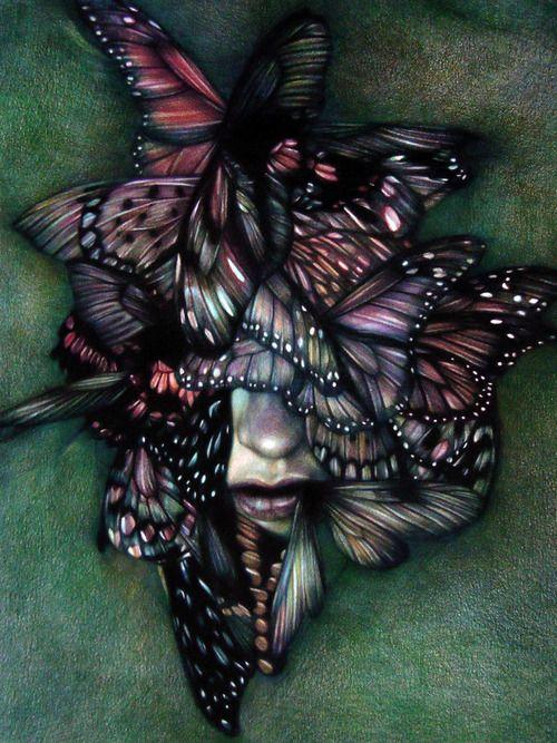 """My Purple Past"" 2012, colored pencils on paper, cm 40x30 ||| Marco Mazzoni"