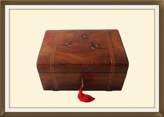 Antique Italian Olive Wood Jewellery Box  £350
