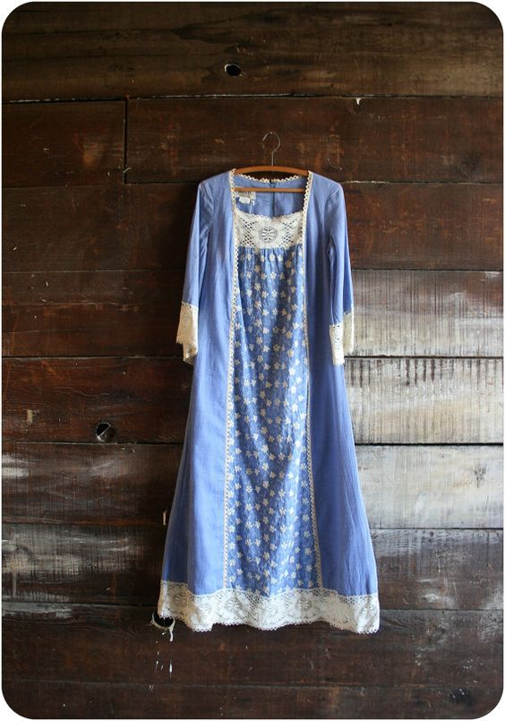 60s cerulean boho dress by blossomvintageshop on Etsy, $51.00