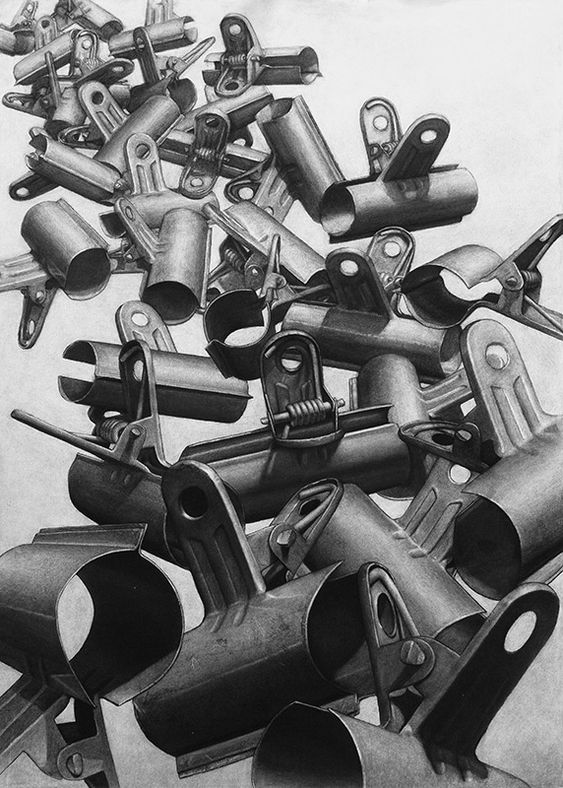Paperclips, Charcoal on paper, 100 x 70 cm. Charcoal drawing by Liu Ling from Art Is http://artis.sg - #realism