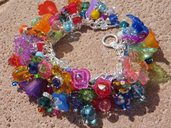NEW RAINBOW GARDEN ooak Vivid Flower Color Study Charm Bracelet
