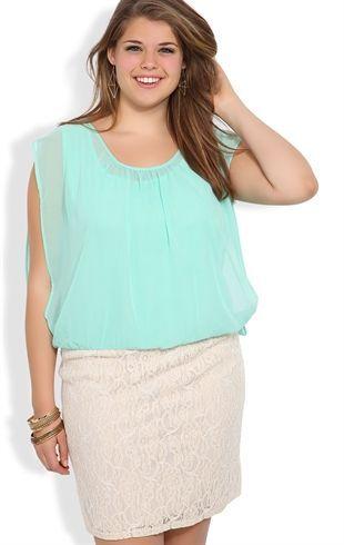 Deb Shops Plus Size #Mint Sleeveless Blouson Dress with Crochet ...