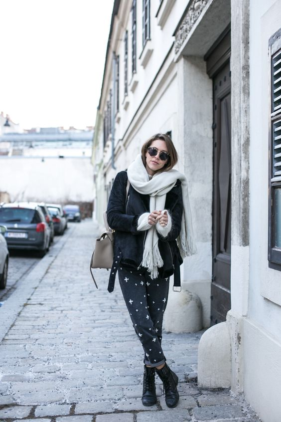 grey pants with pearl embellishment