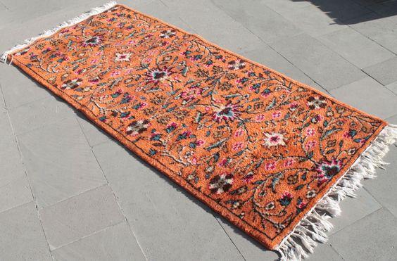 Turkish Rug 36''x78'' Hand Woven Isparta Carpet 92x200cm #Turkish