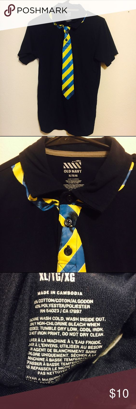 Boys old navy tie polo size xl Boys old navy blue shirt with collar and fake painted on tie. Super cute and extremely soft. In good used condition. Old Navy Shirts & Tops Polos